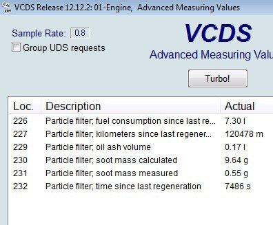 DPF soot measurement in VCDS | Audi A5 Forum & Audi S5 Forum
